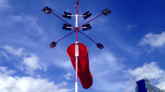 Windsock at heliport. - stock footage