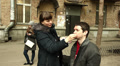 Training of cinema actors for video filming. Man's make-up.Editorial  HD Footage