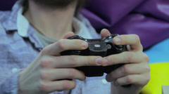 Male playing video game, gaming addiction, teenage problems, click for HD - stock footage
