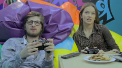 Stock Video Footage of Boyfriend girlfriend have fun, play computer game, addiction, click for HD