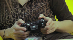 Female playing video game, fun, teenage problems, gaming habit, click for HD Stock Footage