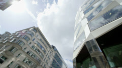 Low Angle pan of Office Buildings Stock Footage