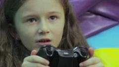 Young mother happy child play, video game addiction, time waste, click for HD - stock footage