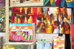 Stock Photo of paintings for sale in miraflores, lima, peru