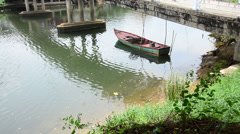 Boat in Chanthaburi river Thailand Stock Footage