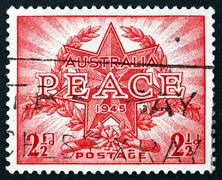 Postage stamp Australia 1946 End of WWII Stock Photos