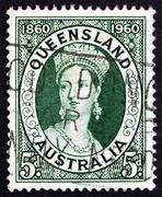 Postage stamp Australia 1960 Queen Victoria Stock Photos
