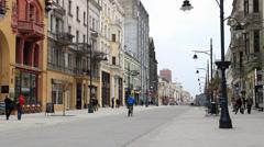Lodz, Poland city center - Piotrkowska street Stock Footage