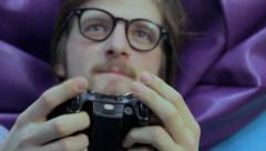 Man pushes joystick buttons, gaming addiction, time wasting, click for HD - stock footage