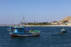 Fishing boat in mancora, peru Stock Photos