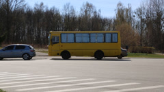 Bus stops at street scene in kiev, ukraine Stock Footage