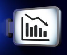 Business concept: Decline Graph on billboard background - stock illustration