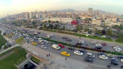 Rush hour traffic from above along sea filling area Stock Footage