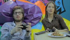 Boyfriend girlfriend have fun, play computer game, addiction, click for HD - stock footage