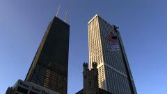 John Hancock Center and the old Water Tower Palace in Chicago. Stock Footage