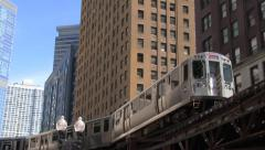 The Loop railroad elevated in Chicago - stock footage