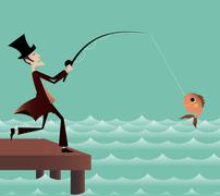 Fishing on the bridge Stock Illustration