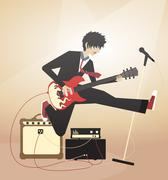 Boy playing on electric guitar and jumping - stock illustration