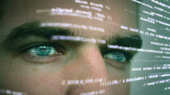 Futuristic computer worker with code Stock Footage
