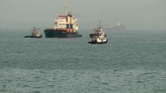 India Maharashtra District Mumbai 063 container ship arrival Stock Footage