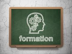 Education concept: Head With Gears and Formation Stock Illustration