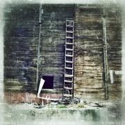 Wooden ladder leaning on barn Kuvituskuvat