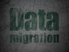 Information concept: Data Migration on grunge wall background Stock Illustration
