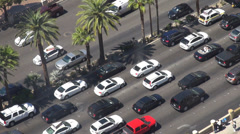 Timelapse aerial view multiple lane track rush car freeway highway sunny day USA Stock Footage
