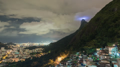 Time lapse of clouds obscuring Rio de Janeiro's Christ statue Stock Footage