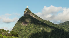 Time-lapse shot looking up at the Christ the Redeemer statue in Rio. Stock Footage