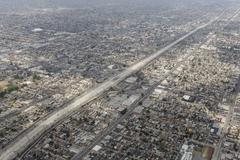 harbor freeway south central los angeles aerial - stock photo