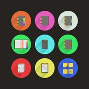 flat icons for notebooks - stock illustration