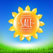 summer sale banner with sun - stock illustration