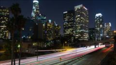 4k Time Lapse of Busy Downtown Los Angeles Freeway At Night - stock footage