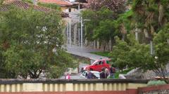 Bridge over river, zoom out, Cuenca Ecuador - stock footage
