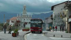 Cuenca, Ecuador, scenic air pollution, busses Stock Footage