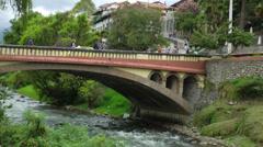Bridge over river, Cuenca Ecuador Stock Footage
