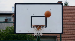 Person tries to score points at the basketball but fails miserably Stock Footage