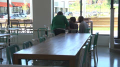 Interior new restaurant and food serving Stock Footage
