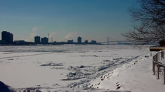 Detroit River iced over - stock footage