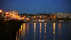 Oceanside City View From pier at night Stock Footage