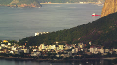 Pan of Guanabara Bay landmarks Stock Footage
