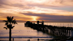 Oceanside Pier At Sunset CA Stock Footage