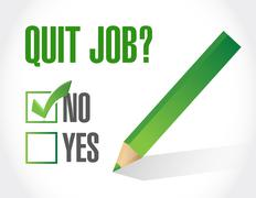 Quit job question and check mark. illustration Stock Illustration