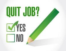 Stock Illustration of quit job question and check mark. illustration