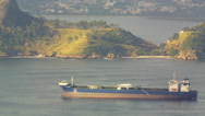 Stock Video Footage of Barge moving across Guanabara Bay