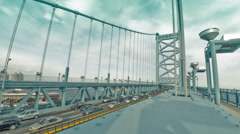WS Traffic on Ben Franklin Bridge - stock footage