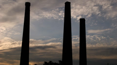 Chimney Stacks time-lapse at Newtown, Sydney Australia at sunset 1080p Stock Footage