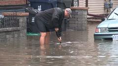 Urban street flooding in Toronto Stock Footage