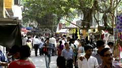 India Maharashtra District Mumbai 045 scene of a busy footpath Stock Footage